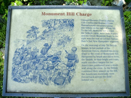 A sign describes the Americans' charge at Hubbardton Battlefield during a Revolutionary War skirmish in July 1777.