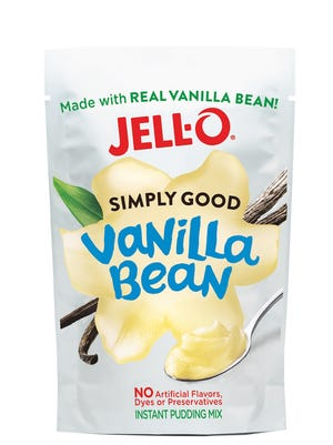 Jell-O Simply Good Vanilla Bean flavored instant pudding.