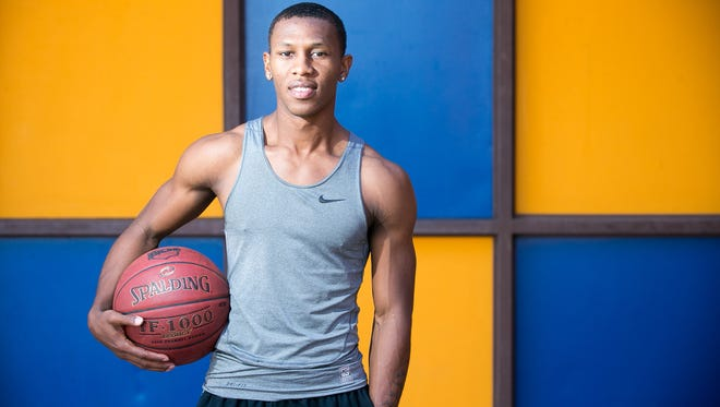 Phoenix College point guard Brandon Brown on Tuesday, December 23, 2014.