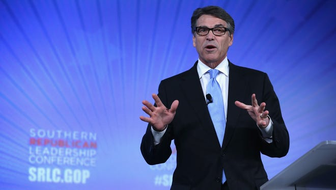 Former Texas governor Rick Perry speaks during the Southern Republican Leadership Conference on May 21, 2015, in Oklahoma City, Okla.