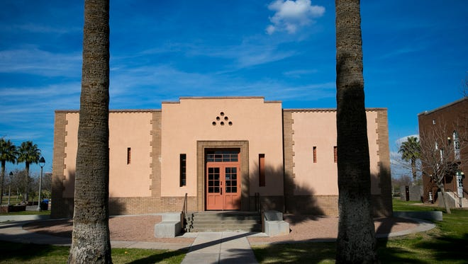 The exterior of the band room that is part of the defunct Phoenix Indian School on Tuesday, Feb. 4, 2014.