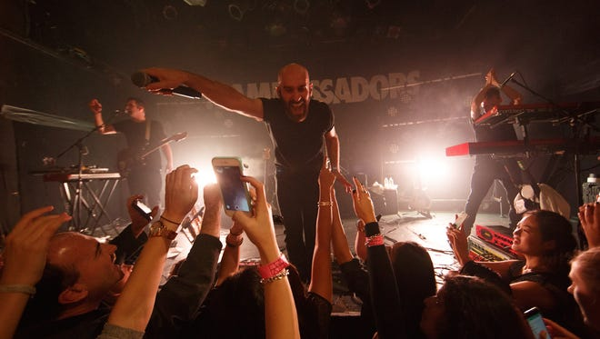 Sam Harris of X Ambassadors performs on stage at Bowery Ballroom on October 22, 2015 in New York City.