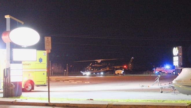 A helicopter with the Delaware State Aviation Unit landed in Harpoon Hanna's parking lot off of Route 54 in Selbyville.