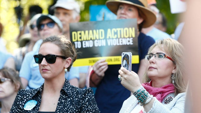 Former Arizona U.S. Rep. Gabrielle Giffords attended a gun-control rally during the Democratic National Convention in Philadelphia. She spoke to families who lost loved ones to gun violence and asked them to push the country's leaders for tighter gun-sales restrictions on Tuesday, July 26, 2016.