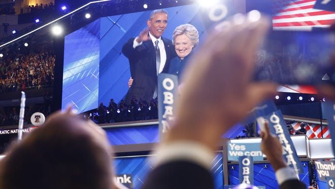 President Obama introduced Democratic Presidential nominee Hillary Clinton at Democratic National Convention in Philadelphia on Wednesday, July 27, 2016.