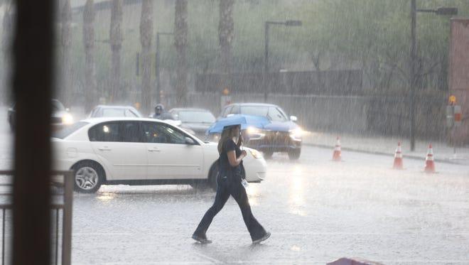 Rain storm hits downtown Phoenix on Tuesday, August 2, 2016.