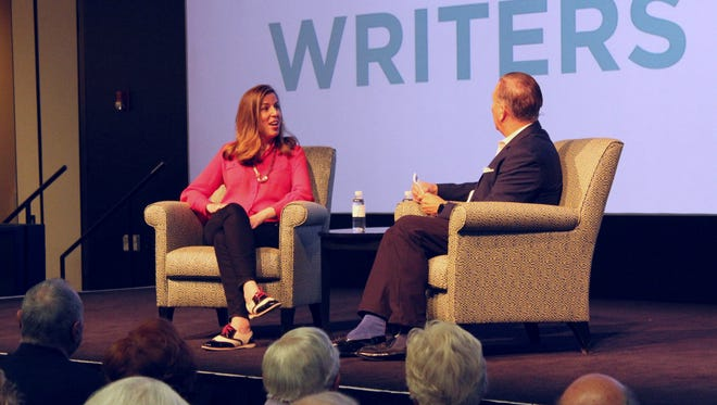 "Amie Parnes, one of the authors of ""Shattered: Inside Hillary Clinton's Doomed Campaign,"" speaks May 4, 2017, at the Rancho Mirage Public Library with Writers Festival founder Jamie Kabler."