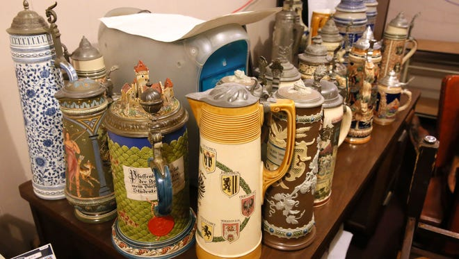 Some of the German beer steins from the late restaurant Karl Ratzsch, 320 E. Mason St. They and other assets of the restaurant are being auctioned off online.