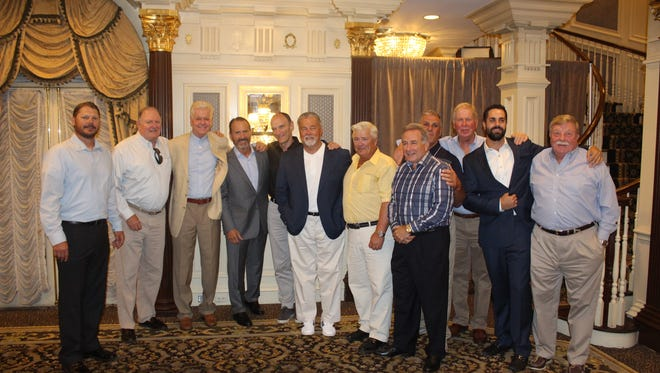 Wayne Valley coach Roger Kotlarz (far left) at the team's recent Hall of Fame induction ceremony.