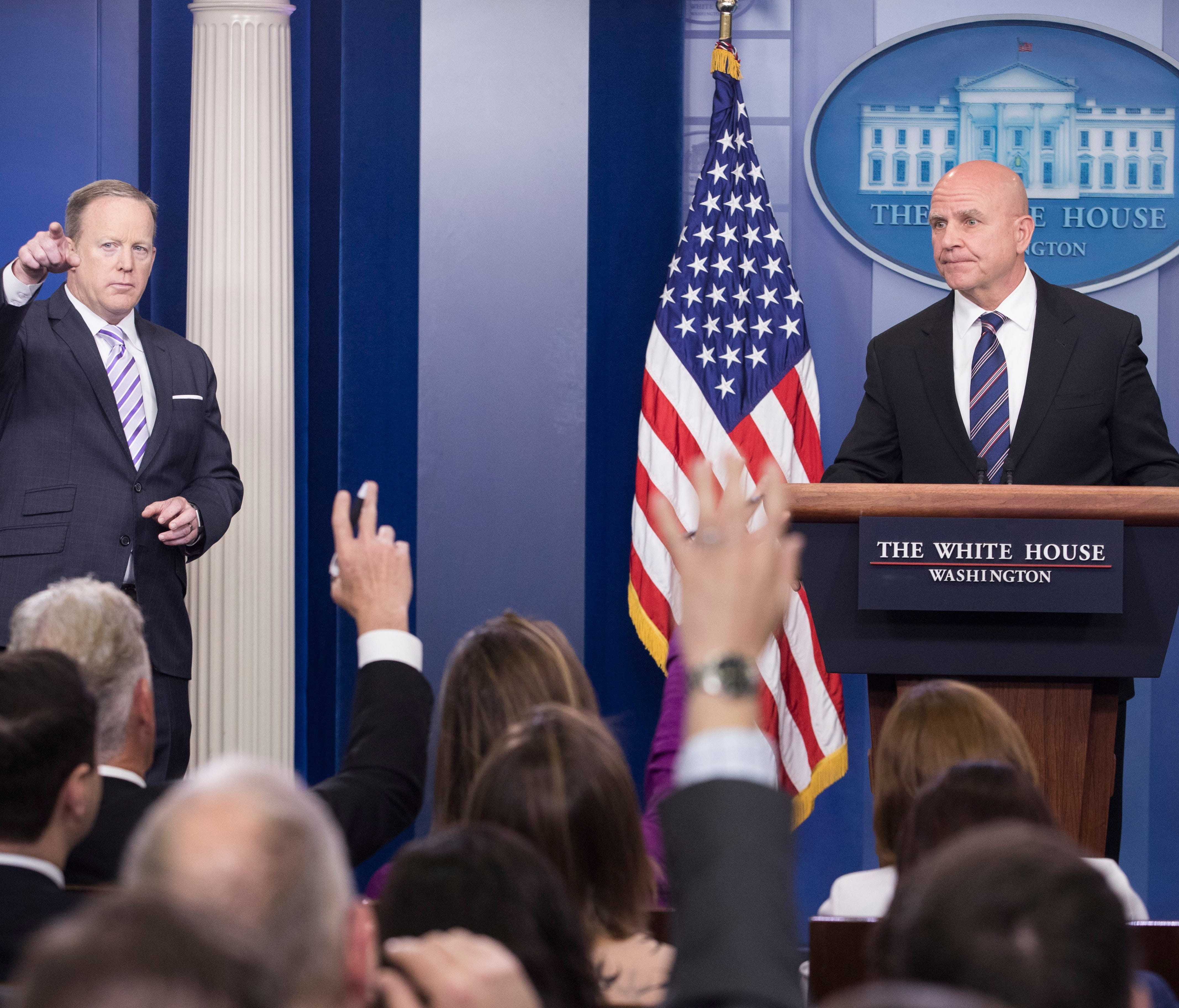 National Security Advisor H.R. McMaster  takes a question from a member of the news media, beside White House Press Secretary Sean Spicer, during a press conference in the Brady Press Briefing Room at the White House in Washington, DC, USA, 16 May 20