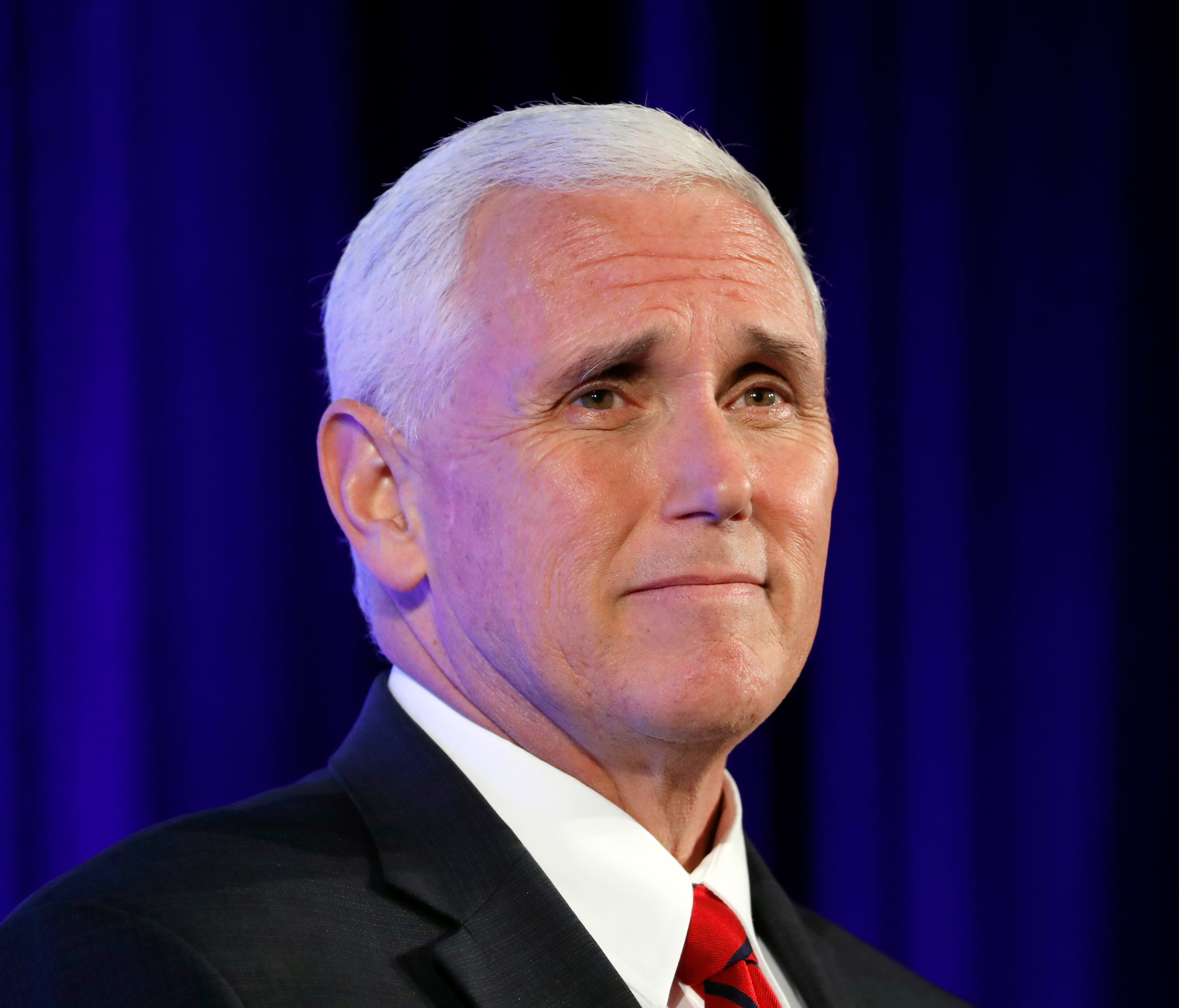 Vice President Mike Pence pauses while speaking at the U.S. Chamber of Commerce, during their