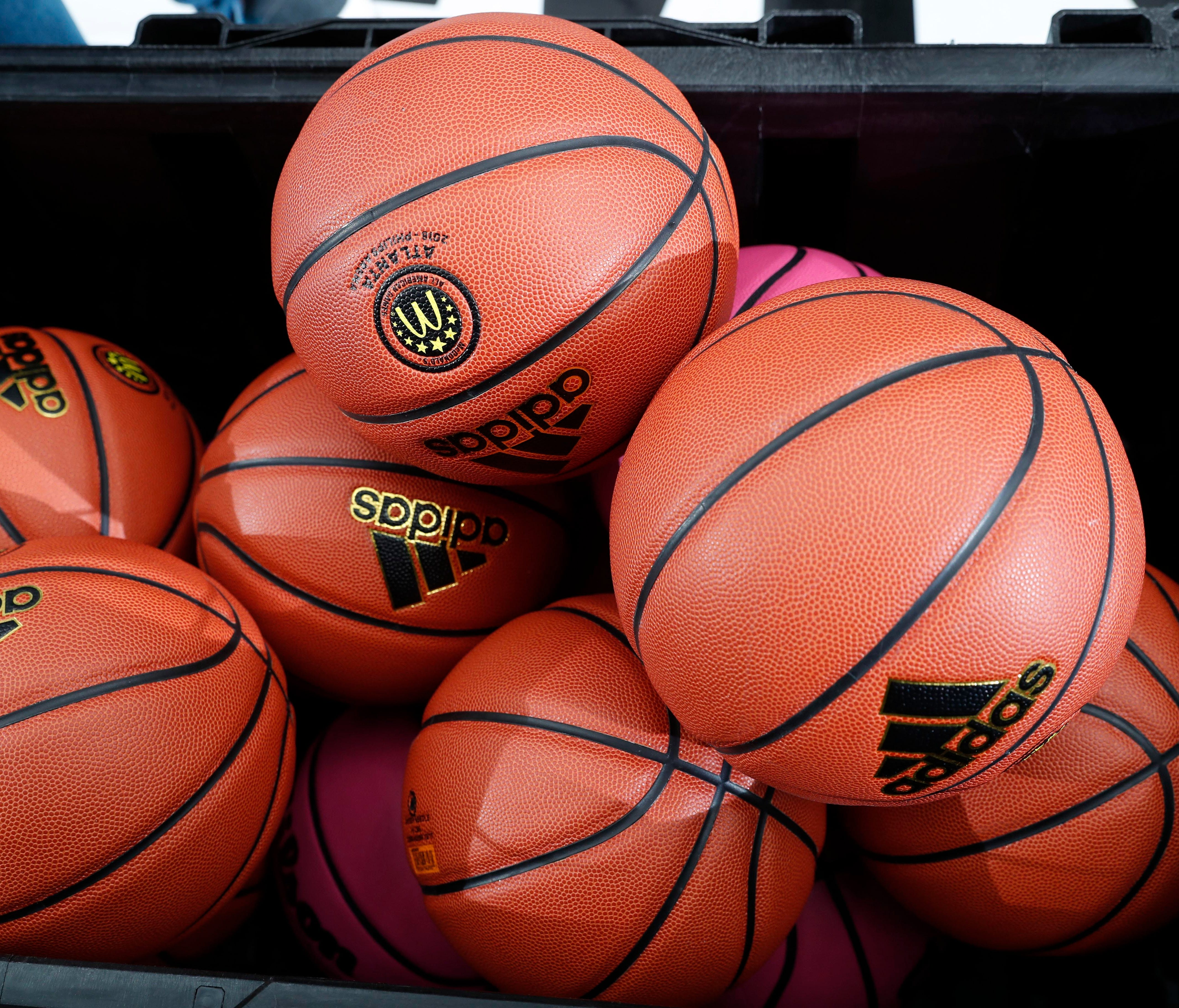 Mar 26, 2018; Atlanta, GA, USA; A general view of basketballs in a container gathered during the McDonalds High School All American Powerade Jamfest at Forbes Arena at Morehouse College. Mandatory Credit: Brian Spurlock-USA TODAY Spor ORG XMIT: USATS