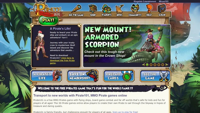 A screen shot shows the Pirate 101 game.