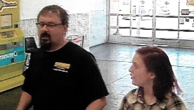 Surveillance images of Elizabeth Thomas and the suspect in her disappearance Tad Cummins taken March 15 in Oklahoma City, Okla.