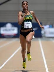 Deajah Stevens of Oregon wins the women's 200m in 22.30