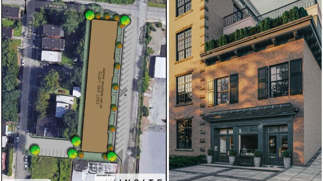 At left, a map shows the City of Newburgh-owned lot at 15 S. Colden St., where the East End Lofts project could be developed. At right is a rendering showing a portion of the East End Lofts, including a rooftop restaurant.