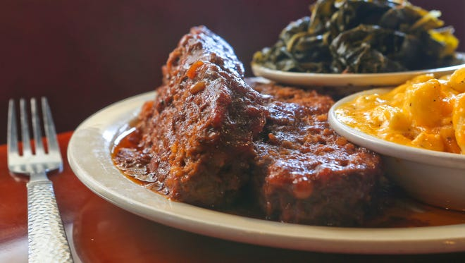 Meatloaf with mac and cheese and collard greens from Dasha Barbour's Southern Bistro.