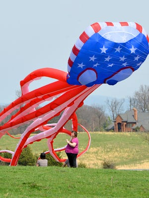"""An April 2014 file photo of a large octopus flag kite slowly rising into the air during """"Kites and Critters"""" along Bells Lane in Staunton."""