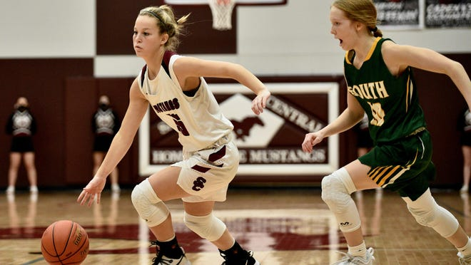 Salina Central guard Aubrie Kierscht (35) drives past Salina South's Kylie Arnold (10) during Friday's game at the Central gym