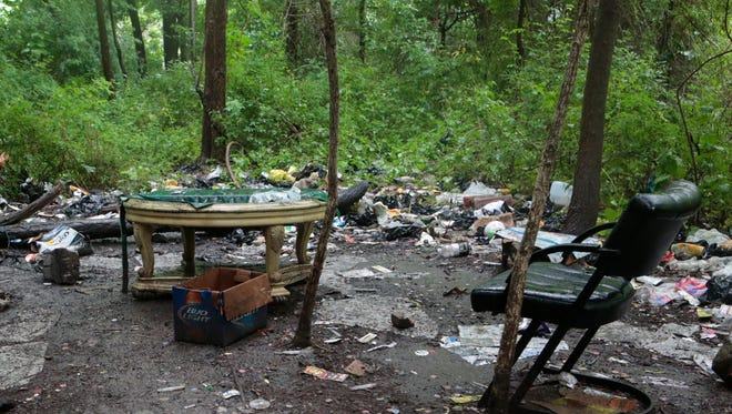 A wooded area near an underpass in Spring Valley where homeless men may be sleeping on June 16, 2015.