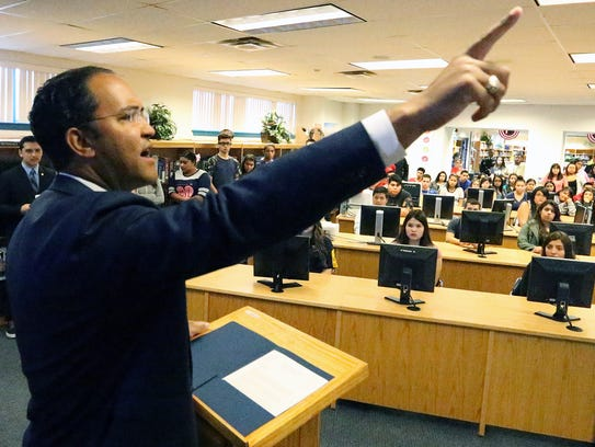 U.S. Rep. Will Hurd, R-Texas, talks Friday to students