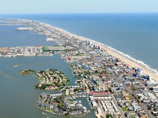 An aerial view of Ocean City, Maryland.