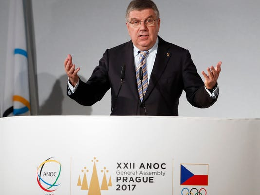 IOC President Thomas Bach addresses delegates during the general assembly of the Association of National Olympic Committees (ANOC) in Prague, Czech Republic, Thursday, Nov. 2, 2017. (AP Photo/Petr David Josek)