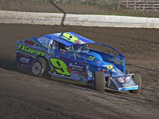 Matt Sheppard negotiates a turn while winning a race at Grandview Speedway.