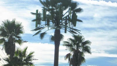 This Desert Sun file photo shows a local cell phone tower. Cell and internet service across the High Desert are reportedly out Tuesday.
