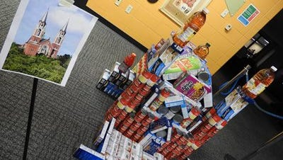 NWTC architect technology students created a model of Holy Hill Church as part of a food drive.