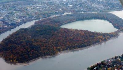 The 400-acre, uninhabited Burlington Island in the Delaware River in Burlington City.  View is from the Pennsylvania side of the river looking east at Burlington