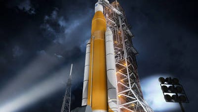 An artist's rendering shows NASA's Space Launch System.