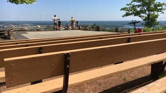 People take in the views from Rib Mountain State Park.
