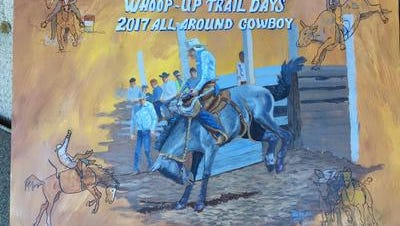 This oil painting, by artist Robert Moritz, goes to the all-around winner of this weekend's 77th annual Whoop-Up Trail Days Rodeo in Conrad.