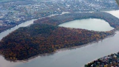There is no bridge connecting Burlington Island in the Delaware rier to the city mainland (top of photo). A campaign is underway  to buy an island boat.