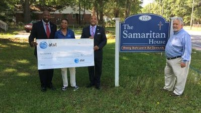 State Sen. Karl Allen was in attendance recently when Terrance Ford, AT&T's regional director of External Affairs, presented $5K to Gale Blassingame, director of Samaritan House.