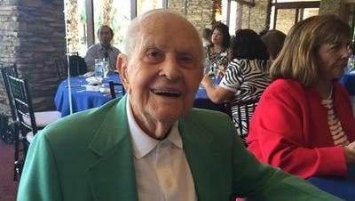This 2016 Desert Sun photo shows Indian Wells resident Larry Matthews during his 110th birthday party. He died Saturday at the age of 111 after being identified as the country's oldest man.