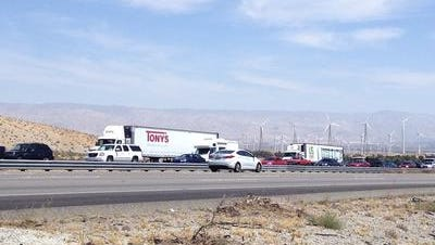 This Desert Sun file photo shows westbound Interstate 10 the day after the 2015 Coachella Valley Music and Arts Festival. Similar conditions are expected Monday when people head home following Labor Day weekend.