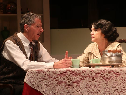 """Mark Maresca stars as Jack and Kathleen Bosworth stars as Kate in the Conejo Players' production of """"Broadway Bound."""""""