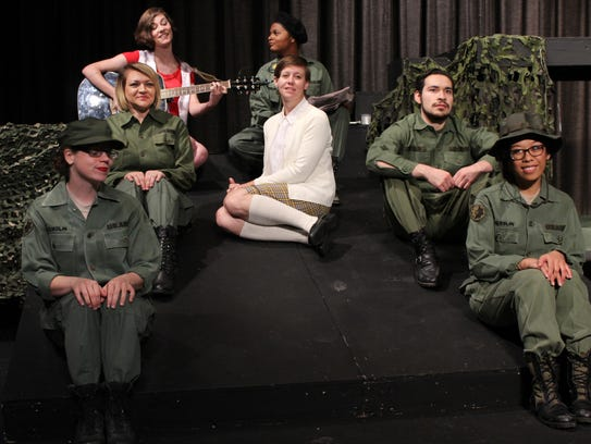 USO singer Mary Jo (Mary Hardegree) sings, then is joined by, clockwise from lower left, nurse Sissy (Amber Jordan), nurse Marha (Melyssa Rievers), Army intelligence officer Steele (Kayla Weinkauf), Red Cross volunteer Whitney (Gavyn Hardegree), a soldier (Bryan Alaniz) and LeeAnn (Larla Morales).