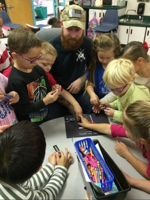 Zane Brugman, a U.S. Army veteran, received a thank-you card from kindergartners on Veterans Day.
