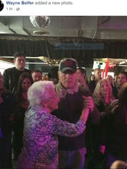 Bruce Springsteen dances with his mom, Adele Springsteen, Sunday, April 15 at the Wonder Bar in Asbury Park.