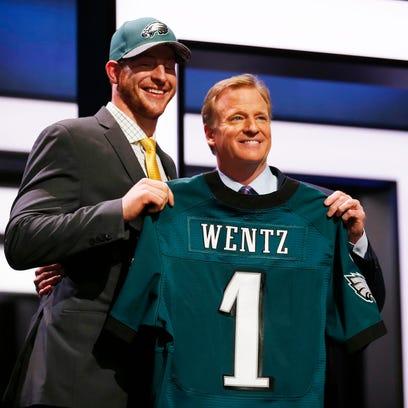 Carson Wentz of North Dakota State with NFL commissioner