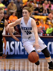 Becker senior Alexa Hanowski (10) drives the ball up