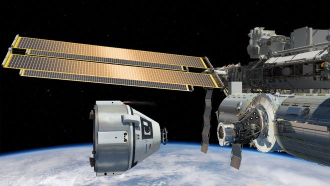 Artist rendering of a Boeing CST-100 crew capsule preparing to dock at the International Space Station.