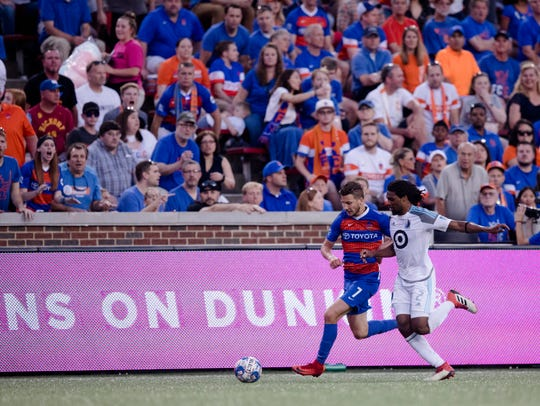 FC Cincinnati forward Russell Cicerone (7) and Minnesota