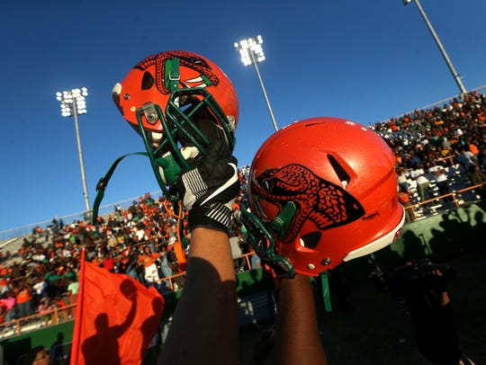 FAMU's players celebrate their 31-14 homecoming win