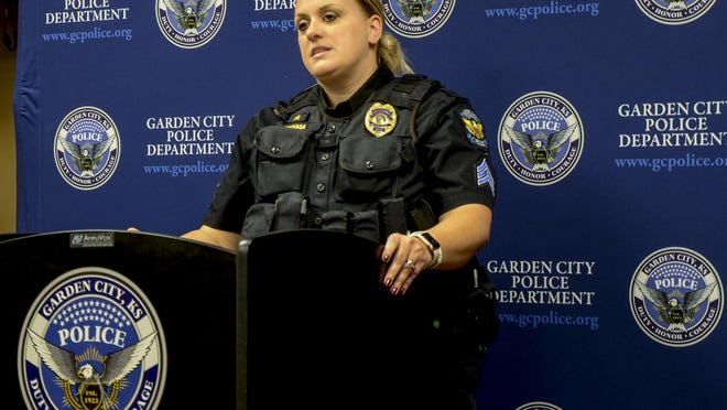 Garden City Police Department's Sgt. Lana Urteaga talks about a fatal shooting Wednesday during a media briefing at the Law Enforcement Center, 304 N. Ninth St.
