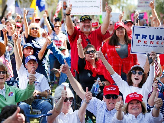 Supporters cheer during a pro-President Donald Trump