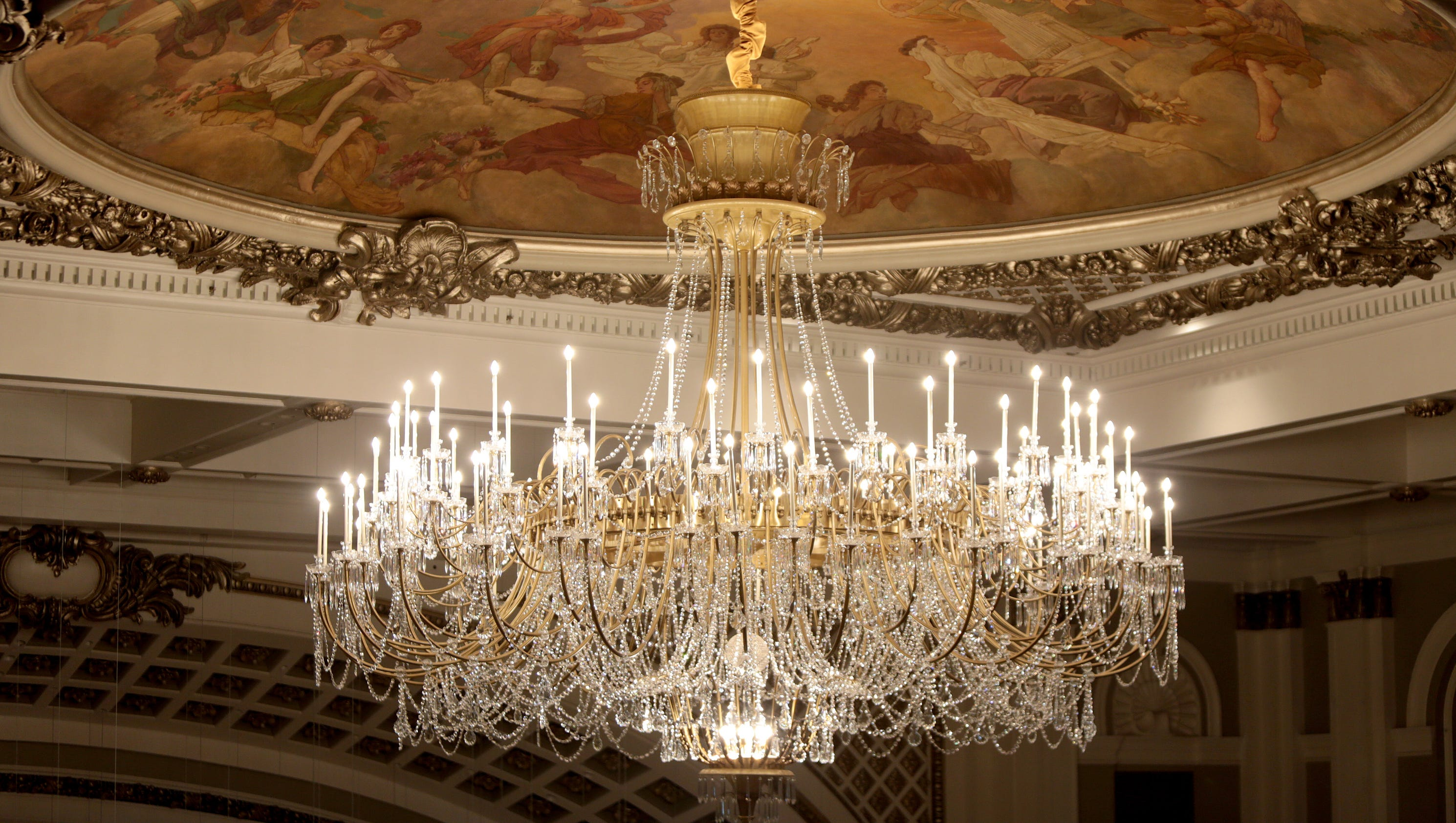 Music hall reopens cleaner rewired chandelier back in auditorium mozeypictures Image collections